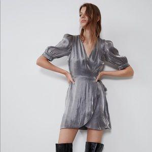 NWOT ZARA metallic effect mini dress